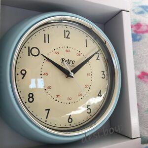 blue kitchen wall clocks closet retro vintage diner round american clock red black image is loading