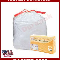 Tall Kitchen Bags Stoves Electric 360 13 Gallon Drawstring White Trash Can Liner Waste Disposal Ebay