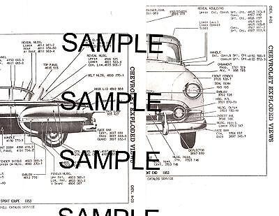 1953 CHEVROLET BEL AIR 210 53 BODY PANEL DIAGRAMS PARTS