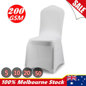 chair covers for sale melbourne fishing chairs ebay 5 10 20 50 lycra spandex stretch cover wedding party white image is loading