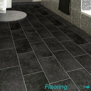 details about black tile stone effect vinyl flooring non slip lino kitchen bathroom 2 3 4m
