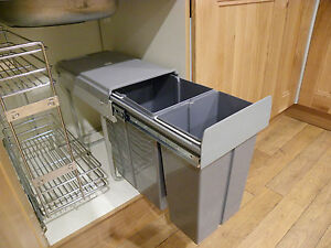 details about new 40l 2x20 pull out kitchen waste bin recycle bin under sink cabinet sale