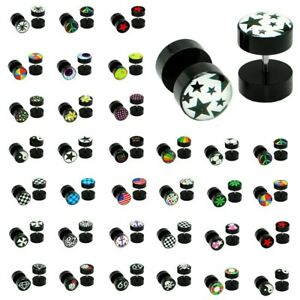 1 Paar Fakeplugs Ø 10mm Fake Plug Tunnel Ohrstecker Ohrringe Fakepiercing