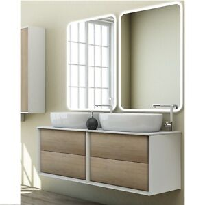 Mobile arredo bagno moderno Bellagio doppio lavabo dappoggio 140x46 sospeso15  eBay