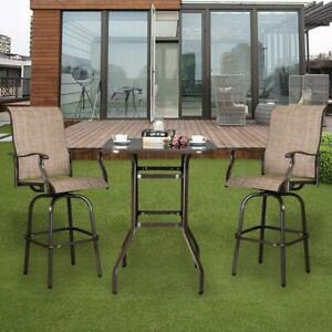 details about 3pcs outdoor patio furniture swivel bar chairs stools high bistro bar table set