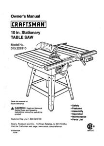 Craftsman 315.228310 Table Saw Owners Instruction Manual