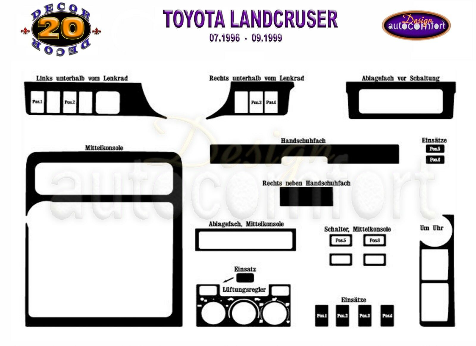 FOR TOYOTA LAND CRUISER Interior Dash Trim Kit 3M 3D 20