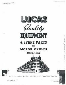 Lucas Parts Manual Book SUNBEAM 1944, 1945, 1946, 1947