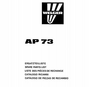 Welger AP73 Baler Parts Manual (PDF file) SPARE PARTS LIST