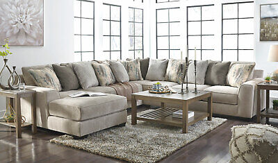 modern 4 pieces sectional living room gray chenille sofa couch chaise set ig0t ebay