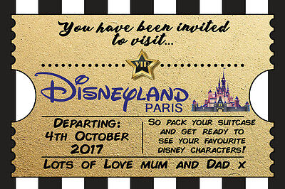 personnalise disney billet style disneyland paris invite inc enveloppes a7 ebay