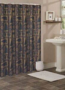 details about cabin pine retreat lodge forest fabric shower curtain modern rustic 70 x72 new