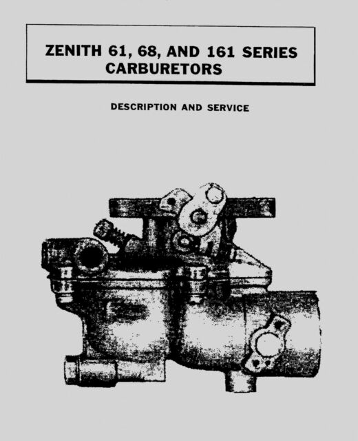 ZENITH Series 61 68 and 161 Carburetor Manual for sale