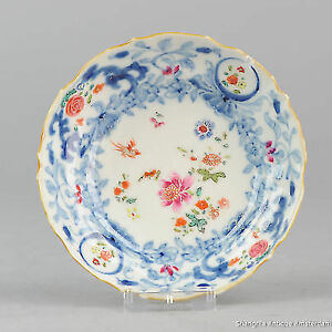 Antique 18C Famille Rose Small plate Birds and FLowers Chinese Qing