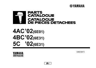 Yamaha Outboard Engine Parts Manual Book 2002 4AC (6E01