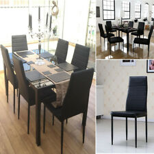 black table and chairs posture office chair manufacturer 7 pieces dining glass 6 faux leather set dinning room uk
