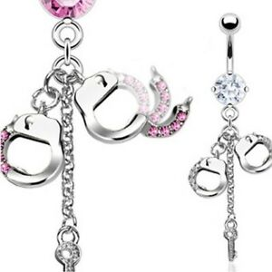 GEM HANDCUFFS CHAIN KEY CZ BELLY NAVEL RING DANGLE BUTTON