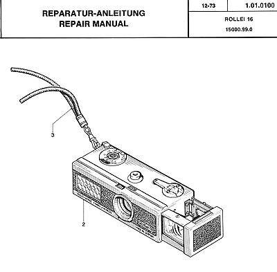 ROLLEI Repair Manual 16 16S film camera SERVICE MANUAL