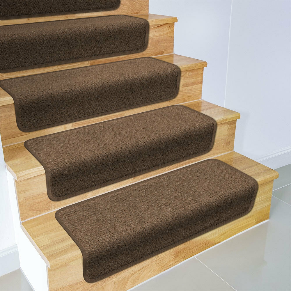 Set Of 15 Overstep Attachable Carpet Stair Treads 17 X30 Toffee | Best Carpet Stair Treads | Rug | Mat | Treads Lowes | Bullnose Stair | Wood Stairs