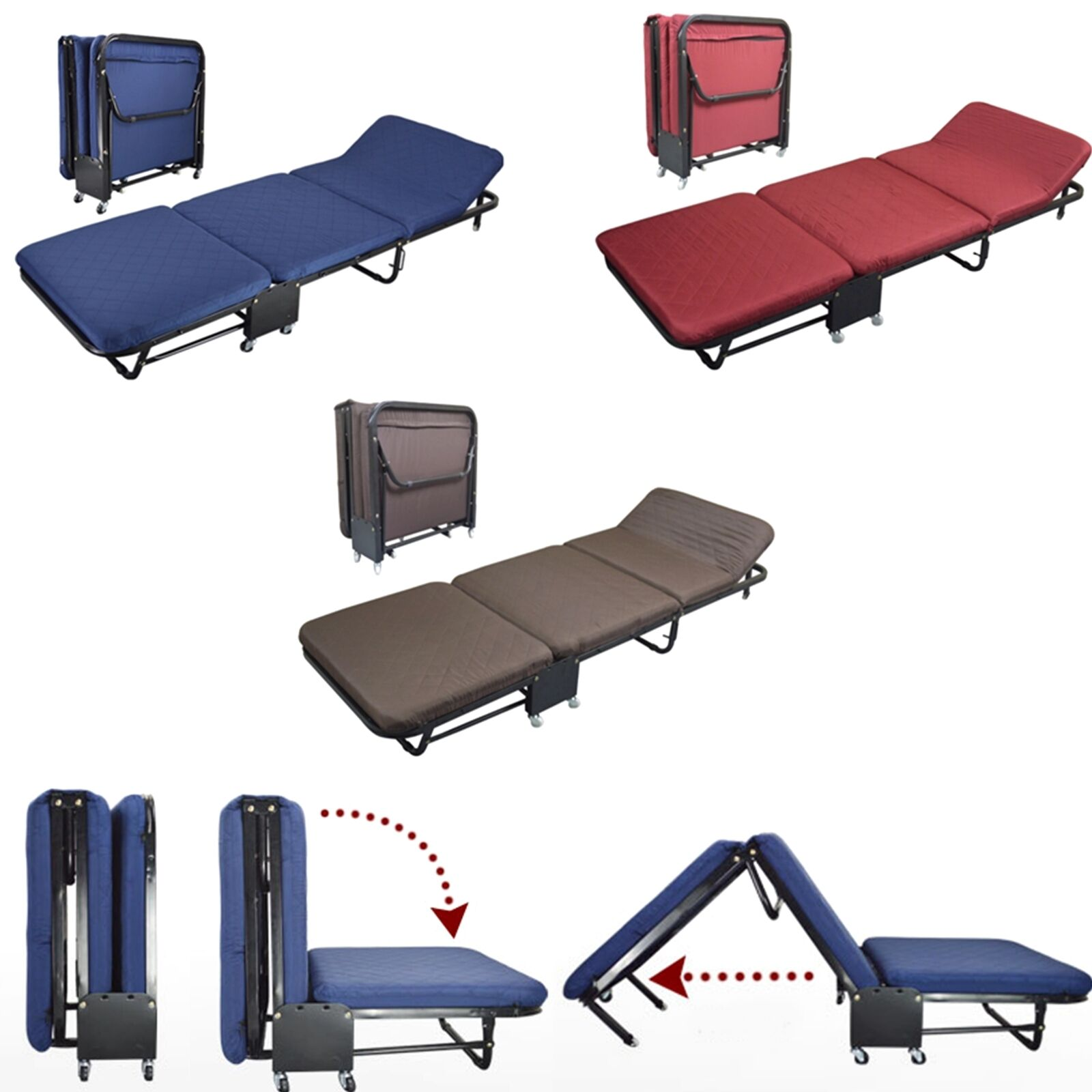 folding chair beds foam 2 small office with arms bed rollaway guest steel frame