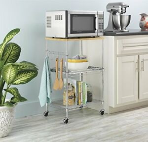 kitchen microwave cart kohler pull out faucet storage rolling stand shelf utility table image is loading