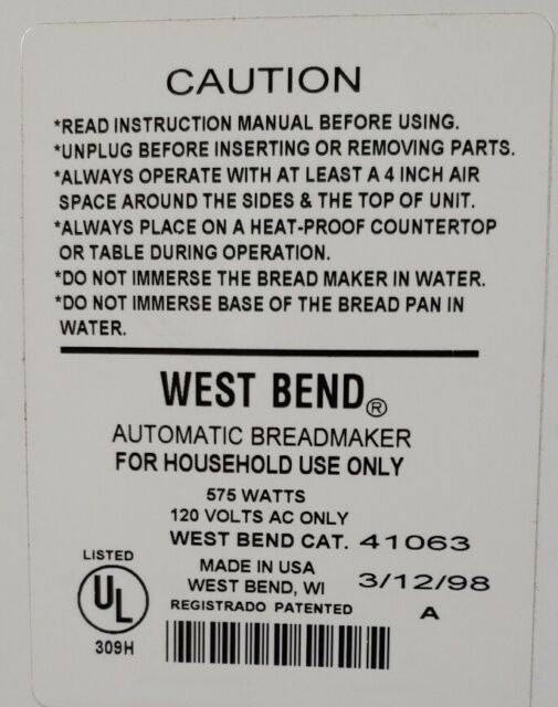 West Bend Automatic Bread & Dough Maker Model 41063 Very