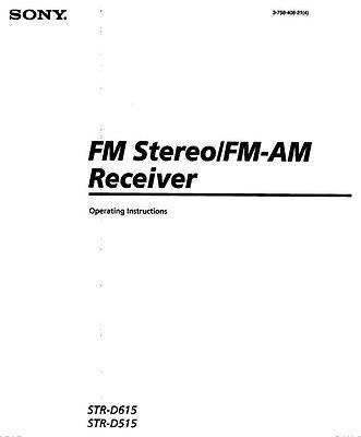 Sony STR-D615 STR-D515 AV Receiver Owners Manual Printed
