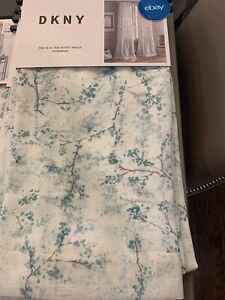 details zu dkny rod pocket panels set of 2 promenade green white sheers curtains 96 floral