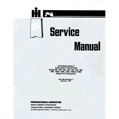 IH Cub Cadet Service & Owners Manual Set 1000, 1200, 1250