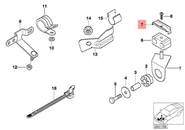Genuine BMW E24 E28 E30 E31 Brake Hose Support Bracket Kit