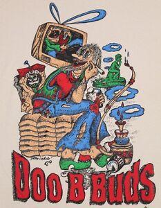 L * NOS vtg 90s 1995 DOO B BUDS lowbrow art BURNOUT marijuana comic t shirt