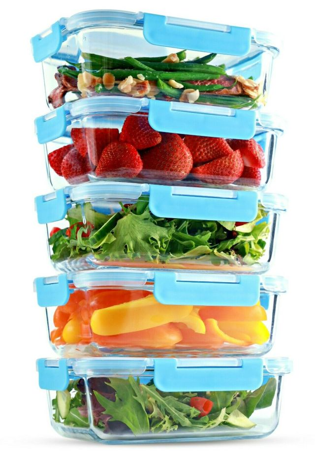 Glass Food Storage Containers - Meal Prep Containers 1 Compartment, 35 Oz 5 Pack 2