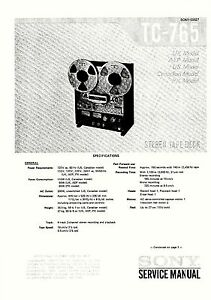 SONY TC-765 TAPE DECK COMPLETE SERVICE MANUAL WITH