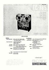 sony tc-765 kassettendeck komplett service manual mit
