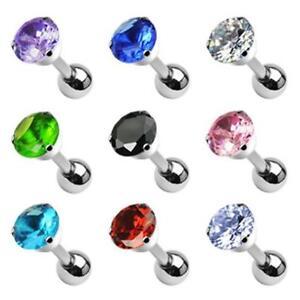 Tragus Ohr Piercing Cartilage Helix 1,2 mm 6 mm Kristall Strass 9 Farben NEU