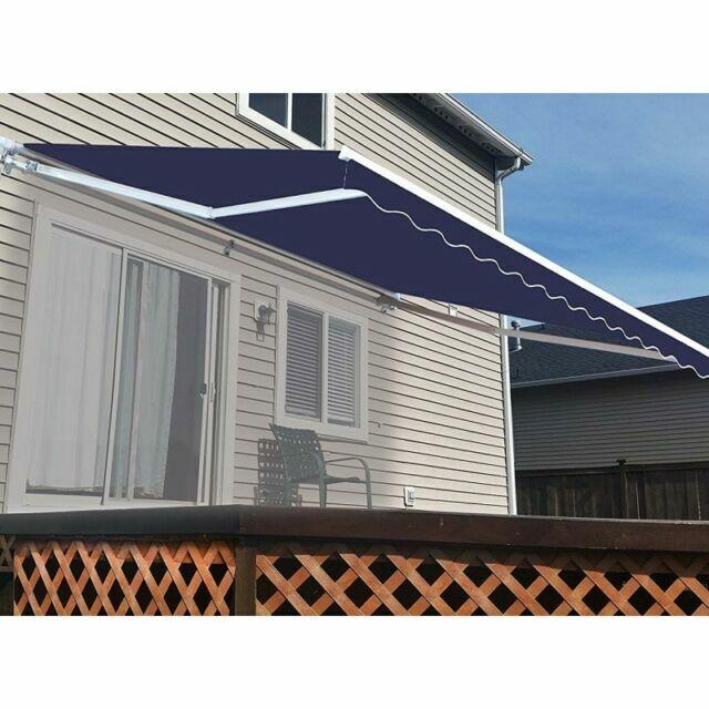 aleko motorized 20x10 feet retractable outdoor patio awning blue 10 x 20
