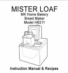 MK Bread Machine Manual HB10W, HB12W, HB210, HB211, HB215