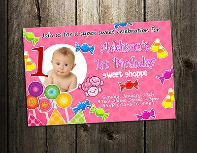 Candy Birthday Party Invitation Custom