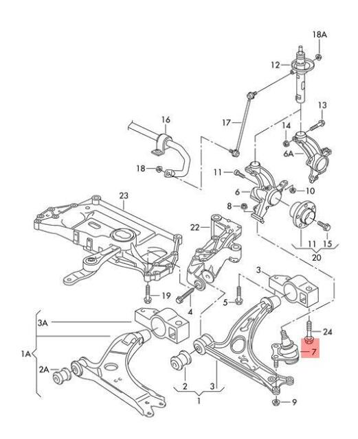 Genuine Guide joint right VW AUDI Beetle Convertible Eos