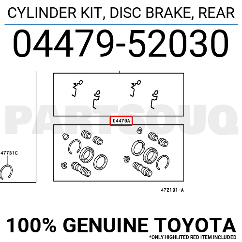 0447952030 Genuine Toyota CYLINDER KIT, DISC BRAKE, REAR