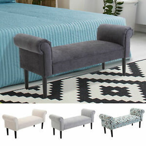 details about 52 modern rolled arm bench bed end ottoman sofa seat footrest bedroom entryway