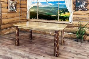 amish kitchen tables aide appliances rustic log dining room 6 ft table made lodge image is loading