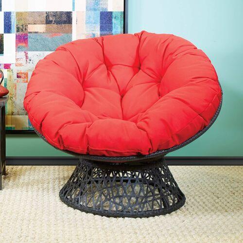 home garden steel frame swivel base papasan chair cushion seat in patio furniture black red home garden furniture