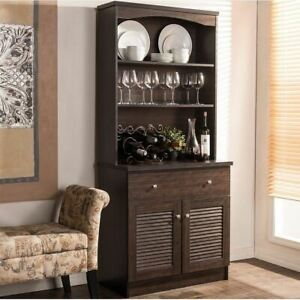 details about espresso buffet microwave kitchen storage cabinet cupboard china hutch dining