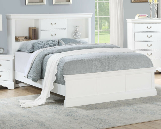 bedroom white solid pine wood est king size bed unique storage modern bedframe