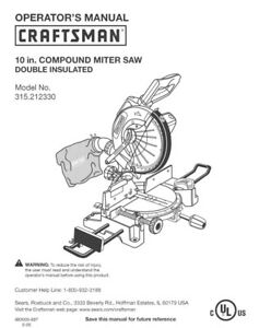 Craftsman 315.212330 Miter Saw Owners Instruction Manual