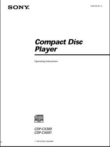 Sony CDP-CX300 / CDP- CX691 CD Player Owner's Manual