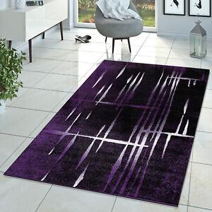 Moderner Wohnzimmer Teppich Matrix Design Kurzflor Meliert Lila Schwarz Creme  eBay
