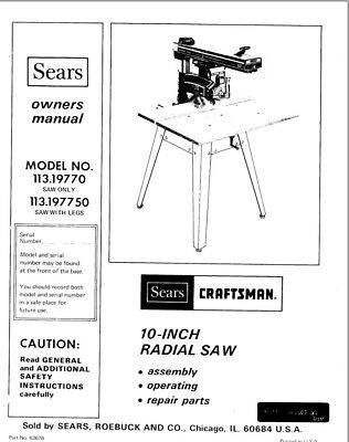 Craftsman 113.19770 113.197750 Radial Saw Owners