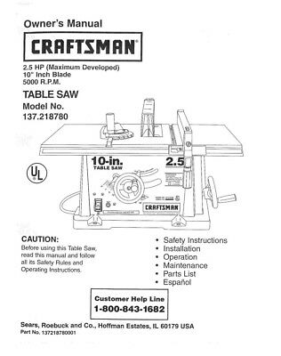 Craftsman 137.218780 Table Saw Owners Instruction Manual